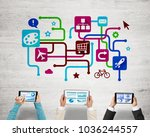 group of three people with... | Shutterstock . vector #1036244557