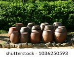 Stock photo a terrace where soy source crocks are placed and a korean traditional crock of soy sauce 1036250593