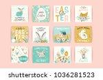 happy easter. vector templates... | Shutterstock .eps vector #1036281523