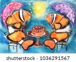 bright fish with umbrellas ... | Shutterstock . vector #1036291567