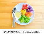 salad dish on the table in... | Shutterstock . vector #1036298833