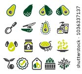 avocado icon set | Shutterstock .eps vector #1036337137