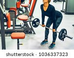sporty woman does back... | Shutterstock . vector #1036337323
