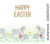 happy easter border seamless... | Shutterstock .eps vector #1036342147