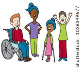 an image of a diverse disabled... | Shutterstock .eps vector #1036349677