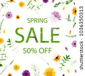 sale poster with flowers | Shutterstock . vector #1036350313