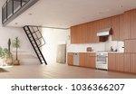 modern kitchen loft interior.... | Shutterstock . vector #1036366207