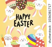 easter day greeting card with... | Shutterstock .eps vector #1036381717