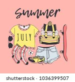 hand drawn summer pattern.... | Shutterstock .eps vector #1036399507