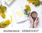 spring flat lay with yellow... | Shutterstock . vector #1036411417