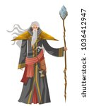 old wise magician with staff | Shutterstock .eps vector #1036412947
