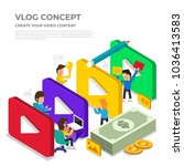 flat design vlog concept.... | Shutterstock .eps vector #1036413583