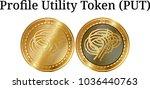set of physical golden coin...   Shutterstock .eps vector #1036440763