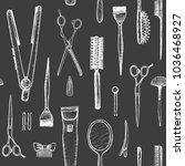 barber shop   seamless pattern... | Shutterstock .eps vector #1036468927