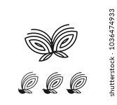 butterfly icon vector logo set. ... | Shutterstock .eps vector #1036474933