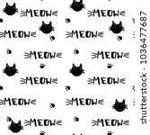 cats heads doodle pattern on... | Shutterstock .eps vector #1036477687