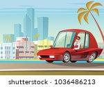 red sport car on ocean drive in ... | Shutterstock .eps vector #1036486213