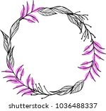 watercolor flower wreath... | Shutterstock . vector #1036488337