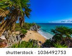 mexico. the mayan city of tulum.... | Shutterstock . vector #1036492753