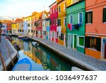colorful house in burano island ... | Shutterstock . vector #1036497637