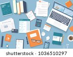 workplace desktop background.... | Shutterstock .eps vector #1036510297
