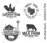 chicken farm badge or label.... | Shutterstock .eps vector #1036521763