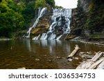 long exposure of ithaca falls... | Shutterstock . vector #1036534753