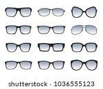 set of black glasses isolated.... | Shutterstock .eps vector #1036555123
