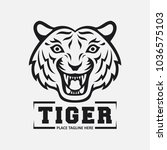 tiger head mascot on white... | Shutterstock .eps vector #1036575103