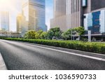 empty urban road with modern... | Shutterstock . vector #1036590733
