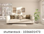 white room with sofa and winter ... | Shutterstock . vector #1036601473