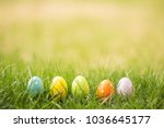 easter background with easter... | Shutterstock . vector #1036645177