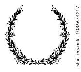 black and white festive wreath. ... | Shutterstock .eps vector #1036674217