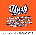 flash lettering font. cursive... | Shutterstock .eps vector #1036693027