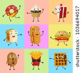 food mascot cute icon set... | Shutterstock .eps vector #1036694017