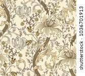 colorful floral seamless vector ... | Shutterstock .eps vector #1036701913