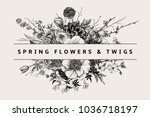 bouquet. spring flowers and... | Shutterstock .eps vector #1036718197