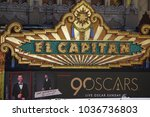 Small photo of LOS ANGELES, MARCH 1ST, 2018: Close up of the El Capitan Theatre marquee on Hollywood Boulevard, with an ad underneath that advertises the 90th Academy Award ceremony, held on March 4th