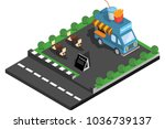 car food potatoes and drinks in ... | Shutterstock .eps vector #1036739137