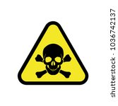 vector danger sign with skull... | Shutterstock .eps vector #1036742137