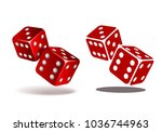 red dice with white pips. two... | Shutterstock .eps vector #1036744963