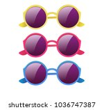 glasses with round lenses | Shutterstock .eps vector #1036747387
