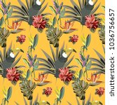 tropical pattern with exotic...   Shutterstock .eps vector #1036756657