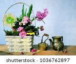 spring flowers bouquet and cofee   Shutterstock . vector #1036762897