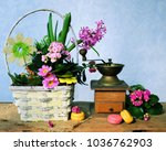 spring flowers bouquet and cofee   Shutterstock . vector #1036762903