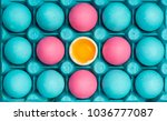 pastel eggs painted in tray ... | Shutterstock . vector #1036777087