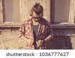 man with beard and long hair... | Shutterstock . vector #1036777627
