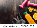 from above dumbbells with juice ...   Shutterstock . vector #1036801657