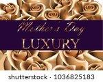 golden rose flower card... | Shutterstock .eps vector #1036825183