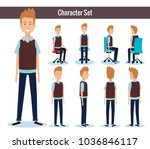 businessmen posing on office... | Shutterstock .eps vector #1036846117